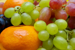Fruit. Green grapes, red grapes, dark grapes, a tangerine Royalty Free Stock Images