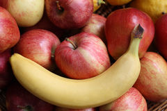 Fruit. A still life with fruit, banana, apple, pear stock images