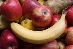 Fruit. A still life with fruit, banana,apple,pear stock photography