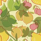 Fruit. Vector of Fruit Peach Lemon and Cherry Stock Images