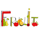 Fruit. Colorful inscription with decorative Stock Images