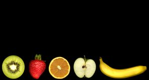 Fruit. Various fruit on a black background Royalty Free Stock Photo