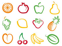 Fruit. Set of simple images fruit Stock Photos