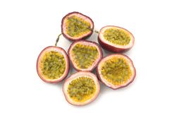Fruit. Passion fruit sliced on white background Stock Image
