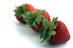 Fruit. 3 Strawberries Royalty Free Stock Image