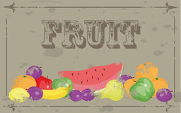 Fruit. Grunge templates designs of menu Stock Image