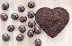 Fruit and acai powder - Euterpe oleracea Royalty Free Stock Images