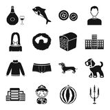 Fruit, alcohol, animal and other web icon in black style.. Fruit, alcohol, animal and other  icon in black style. game, clothes, atelier icons in set collection Stock Images