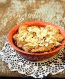 Fruit and almond cobbler. Selective focus royalty free stock photos