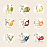 Fruit alphabet Stock Images