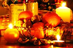 Free Fruit And Nuts With Christmas Presents. Stock Photography - 33232562