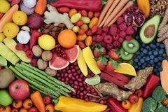 Fruit And Vegetable Health Food Background Stock Photo