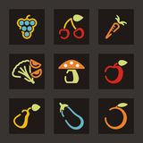 Fruit And Vegetable Icons Royalty Free Stock Images