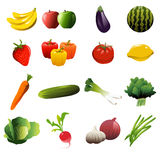 Fruit And Vegetable Icons Stock Photos