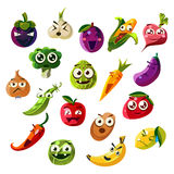 Fruit Ands Vegetable Emoji Set Royalty Free Stock Photos