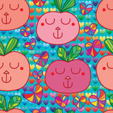 Fruit animal face seamless pattern. This illustration is design abstract animal face with fruit shape in colorful love background in seamless pattern Royalty Free Stock Image