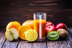 Fruit apple orange lemon juice Stock Images