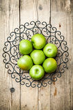 Fruit. apples in a bowl on wooden background Stock Photo