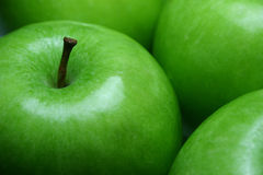 Fruit Apples Green. Closeup of green apples fruit background Royalty Free Stock Photos