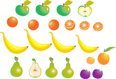 Fruit apples and oranges. A set of fruit, with apples,oranges,banannas,pears,peaches and plums Stock Photos