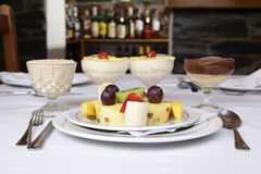 Fruit assortment. On white restaurant table stock photography