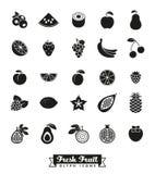 Fruit Assortment Glyph Icon Vector Set Stock Photography