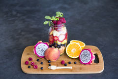 Fruit assortment in a mason jar Stock Photos