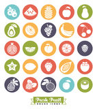 Fruit Assortment Round Color Icon Vector Set. Collection of 25 fruit vector icons, negative in colored circles Stock Photography