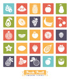 Fruit Assortment Square Color Icon Vector Set Stock Image