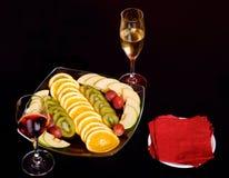 Fruit avec du vin Images libres de droits