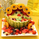 Fruit baby carriage on baby shower occasion Royalty Free Stock Photography