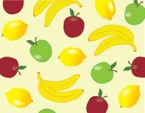 Fruit background. Apples, bananas and lemons background Stock Photo