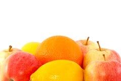 Fruit background. Apples, orange and lemon isolated on white Stock Photo