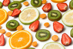 Fruit background. Some assorted fruit arrangement over white background Royalty Free Stock Photo