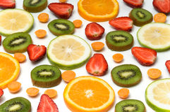 Fruit background. Some assorted fruit arrangement over white background Royalty Free Stock Photos
