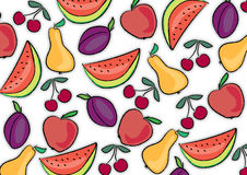 Fruit background. Background with different fruits: pear, cherry, watermelon, plum and apple vector illustration