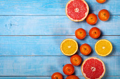 Fruit background closeup- grapefruit, apples, oranges and tanger Royalty Free Stock Photography