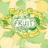 Fruit background with doodle elements Royalty Free Stock Photography