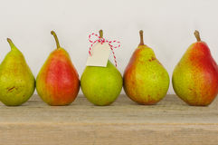 Fruit background. Fresh organic pears on old wood. Pear autumn h Stock Images