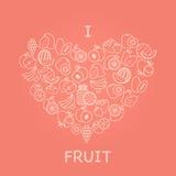 Fruit background I love fruit Stock Photography