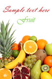 Fruit background isolated text royalty free stock photos