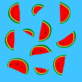 Fruit background. Lots of watermelon on blue background Stock Photo