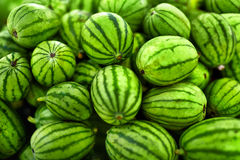 Fruit Background. Organic Watermelons In Farmers Market. Nutriti Stock Photography
