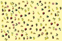Fruit background. Pastel yellow pattern Royalty Free Stock Images