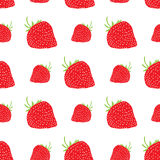 Fruit background Seamless pattern with hand drawn skech strawberry vector illustration Royalty Free Stock Images