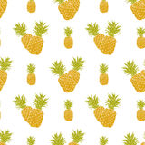 Fruit background Seamless pattern with hand drawn sketch pineapple vector illustration Royalty Free Stock Image