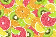 Fruit background with slices of orange, grapefruit, lemon, lime and kiwi. Stock Photography