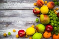 Fruit background vintage wooden autumn food nature Stock Photos
