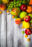 Fruit background vintage wooden autumn food nature Stock Image