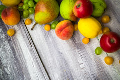 Fruit background vintage wooden autumn food nature Royalty Free Stock Images